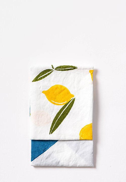 Handmade Linen Kitchen Towel in Lemons