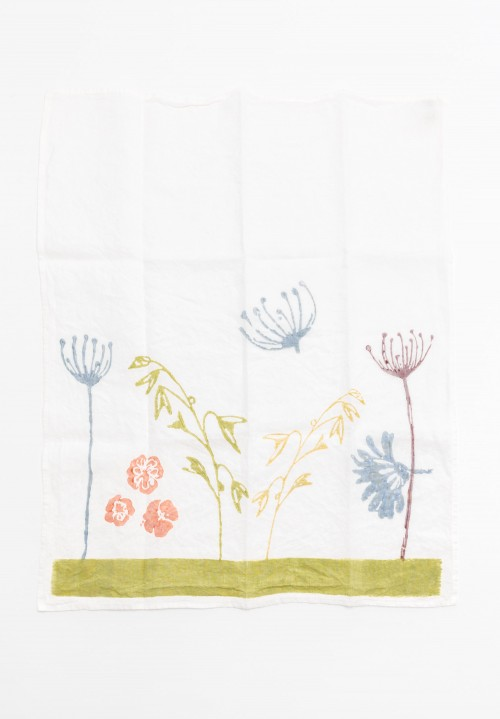 Handmade Linen Kitchen Towel in Wildflowers
