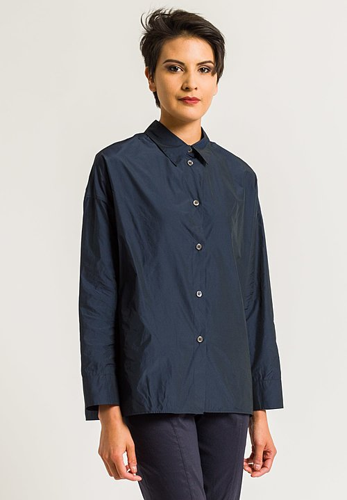 Peter O. Mahler Comfortable Crash Blouse in Navy