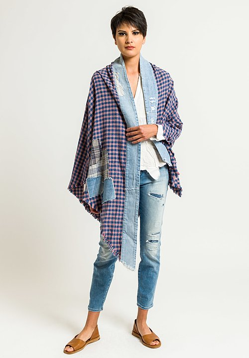 Greg Lauren Big Bear Denim Wrap in Red, Blue & White