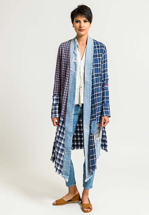 Greg Lauren Plaid and Vintage Denim Long Stripe Studio Kimono