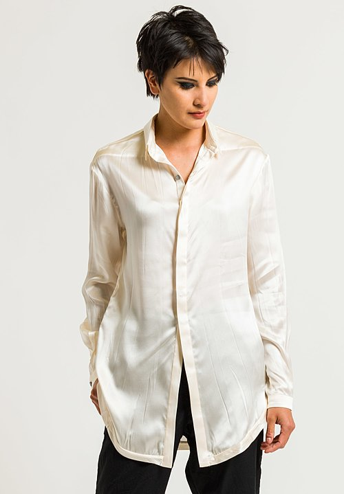 Umit Unal Silk Placket Long Button Shirt in Natural