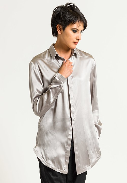 Umit Unal Silk Placket Long Button Shirt in Silver Grey