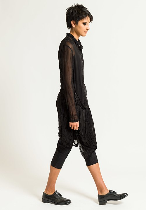 Rundholz Dip Sheer Button-Down Tunic in Black