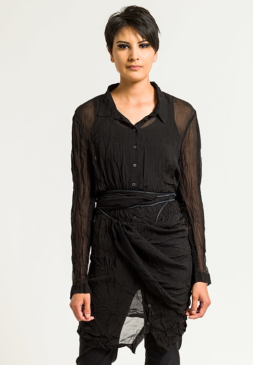 Rundholz Dip Sheer Long Button-Down Shirt in Black