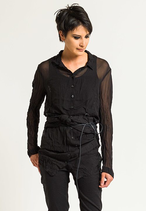 Rundholz Dip Sheer Long Button-Down Shirt in Topas