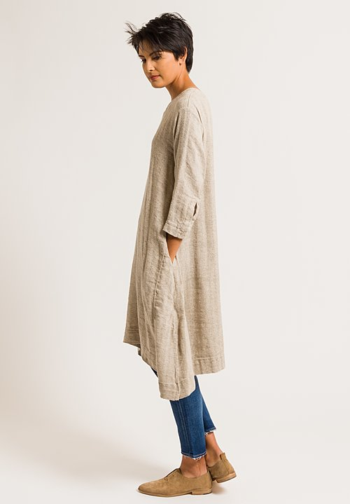 Kaval Silk/Linen Crew Neck Cord Tunic in Beige