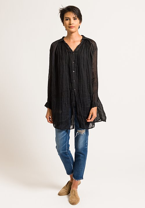 Kaval Linen Gauze Poncho Top in Black