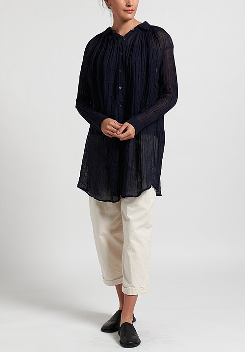 Kaval Linen Gauze Poncho Top in Navy