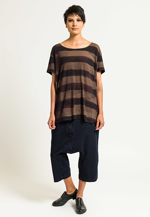 Rundholz Ribbed Jersey Tee in Granat Stripe