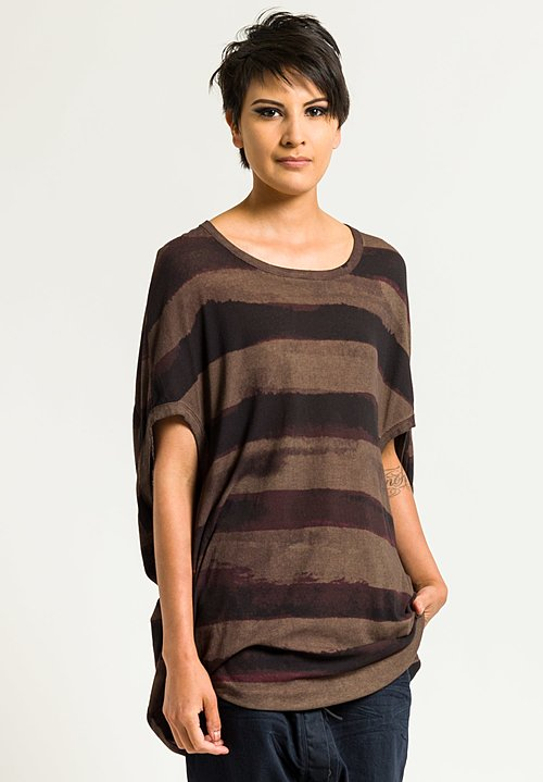 Rundholz Ribbed Jersey Tunic in Granat Stripe