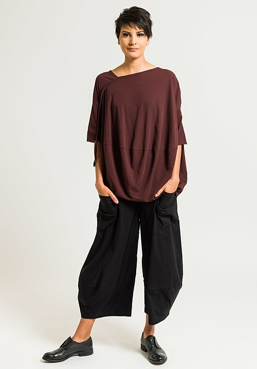 Rundholz Asymmetrical Short Sleeve Top in Granat