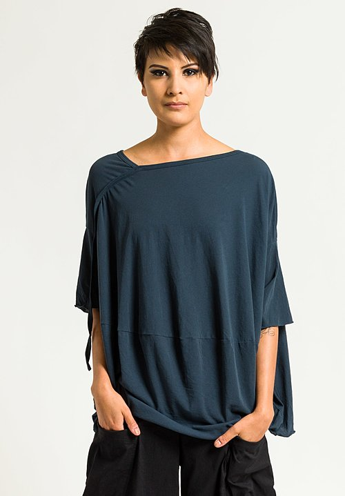 Rundholz Asymmetrical Short Sleeve Top in Topas