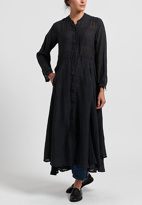 Kaval Kaddi Silk Long Shirt Dress in Black