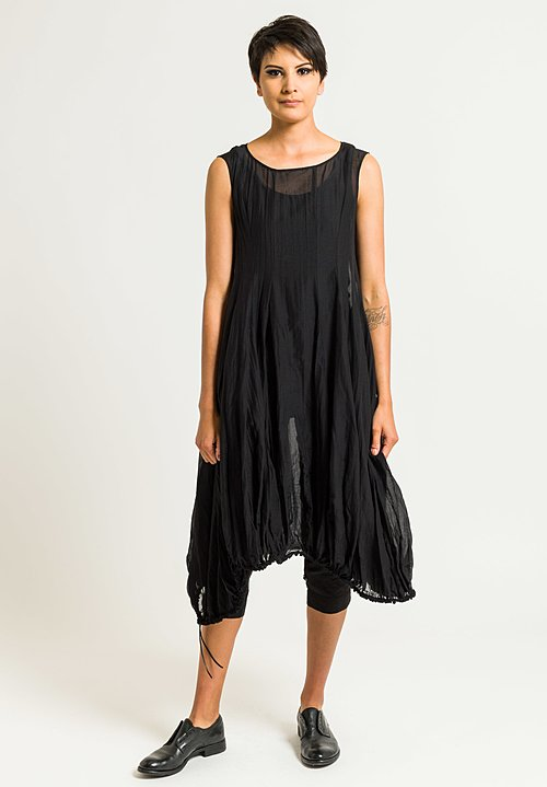 Rundholz Sheer Tunic Dress in Black