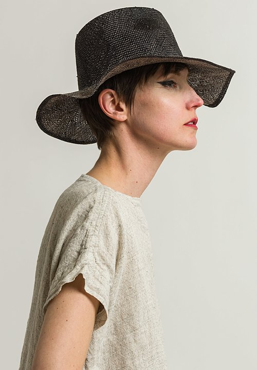 Reinhard Plank Small Nana Ramie Straw Hat in Black
