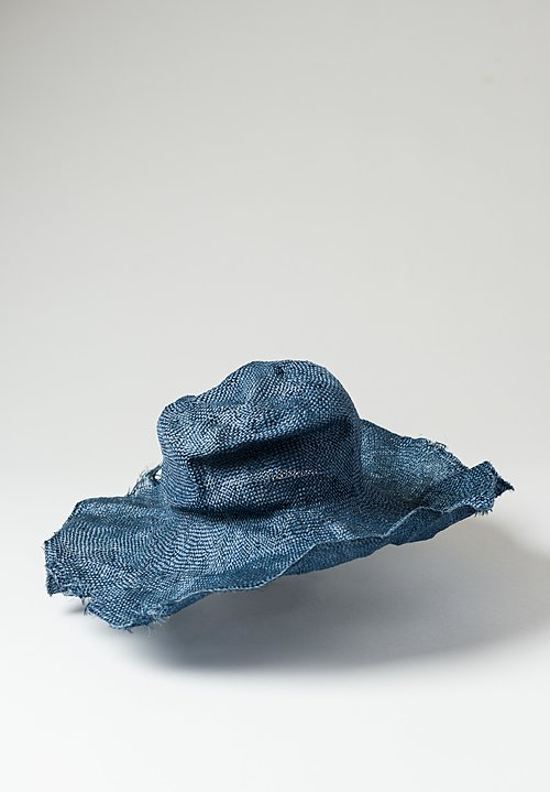 Reinhard Plank Straw Comme Ramie Hat in Indigo