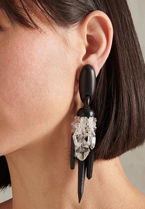 Monies Double Terminated Mountain Crystal Earrings