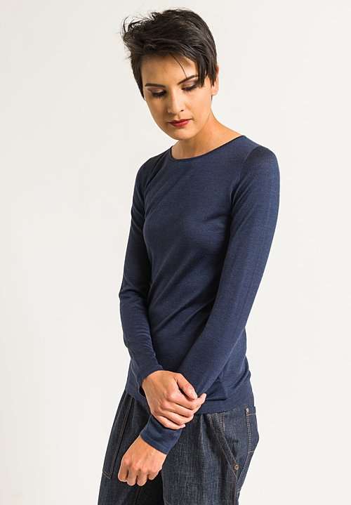Brunello Cucinelli Cashmere/Silk Lightweight Sweater in Navy
