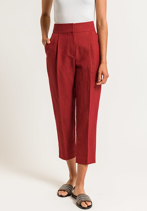 Brunello Cucinelli Front Pleat Trousers in Crimson