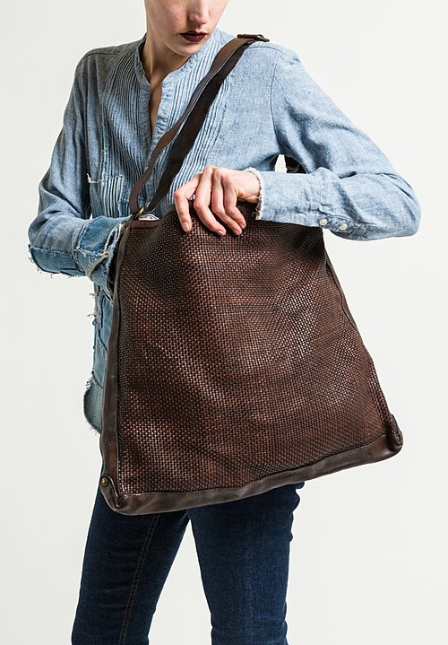 Campomaggi Woven Flat Shoulder Bag in Brown
