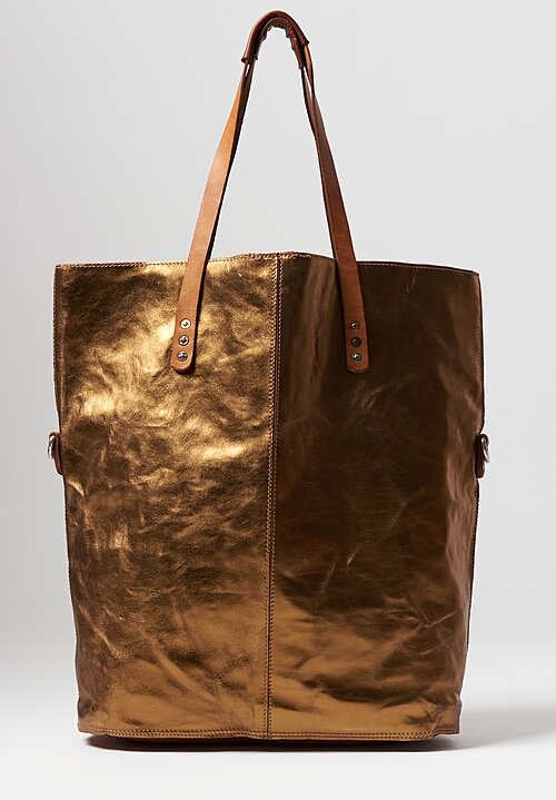 Campomaggi Large Metallic Shopping Tote in Bronze