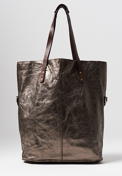 Campomaggi Large Metallic Shopping Tote in Silver