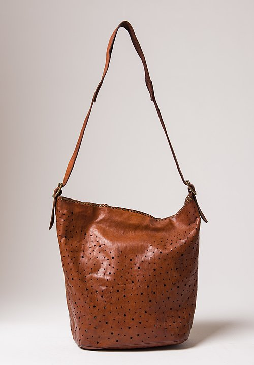 Campomaggi Perforated Shoulder Bag in Cognac