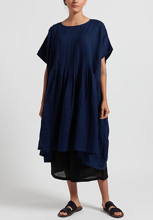 Maison de Soil Random Pleats Dress in Dark Indigo