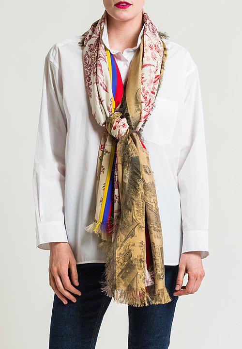 Pierre Louis Mascia Silk Printed Scarf in Floral/ Woods