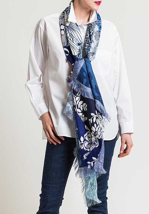 Pierre Louis Mascia Silk Printed Scarf in Floral/ Geometric