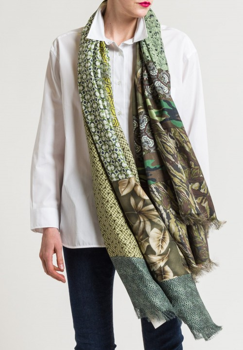 Pierre Louis Mascia Silk Printed Scarf in Camo/ Geometric