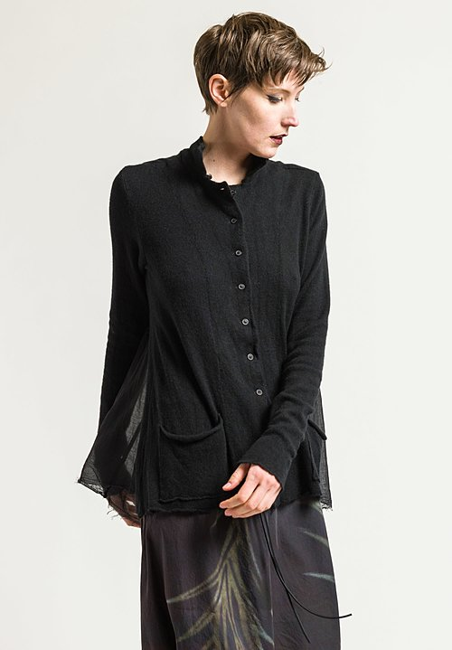 Rundholz Relaxed Cardigan with Pleated Back in Black