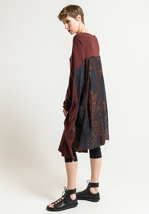 Rundholz Cashmere Tunic with Pleated Back in Granat/Dis. 038