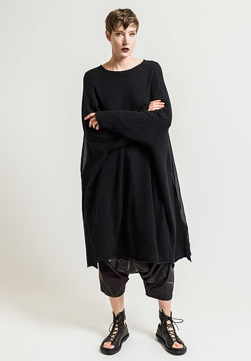 Rundholz Cashmere Tunic with Pleated Back in Black