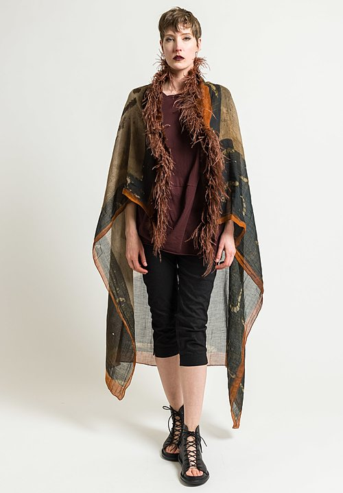 Rundholz Feathers & Face Print Shawl in Des. 002