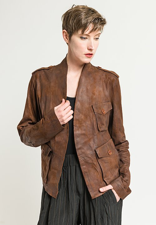 Urban Zen Lambskin Safari Jacket in Henna