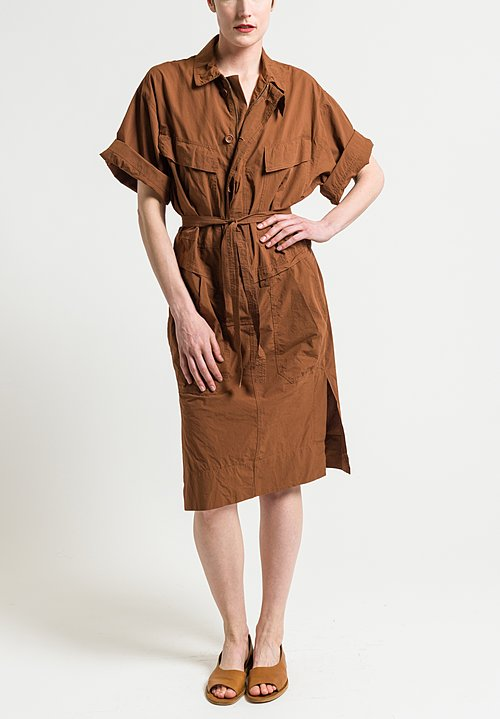 Urban Zen Poplin Safari Dress in Henna