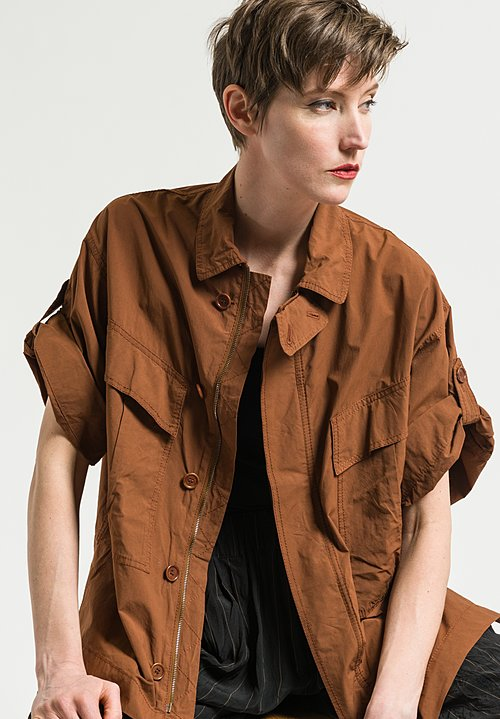 Urban Zen Poplin Zipper Campshirt in Henna