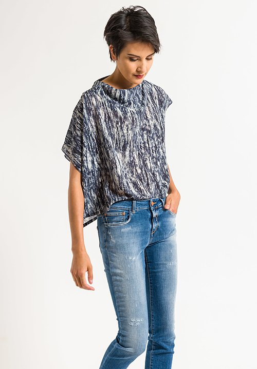 Anntian Asymmetric Short Top in Dark Blue