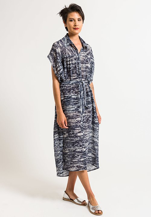 Anntian Asymmetric Shirt Dress in Dark Blue