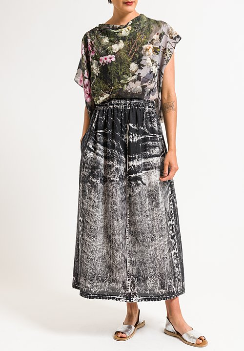 Anntian Mock Jean Print Skirt in Black