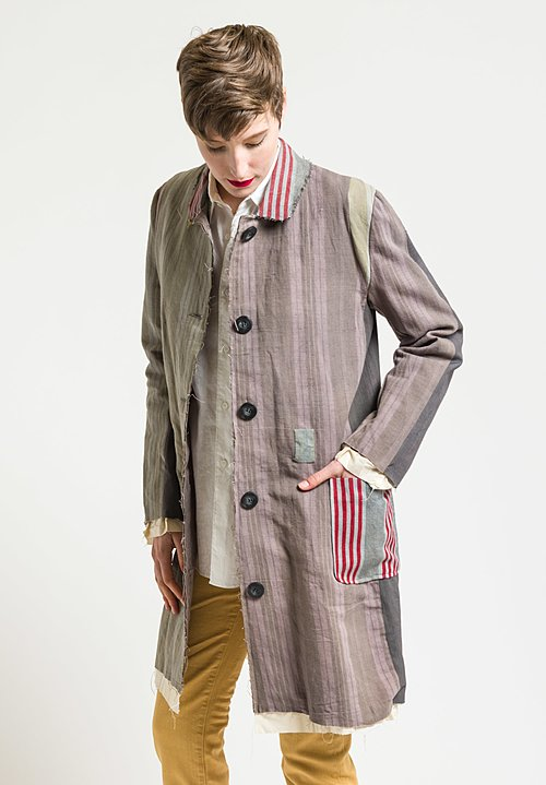 By Walid 19th Century Ticking Martha Jacket in Faded