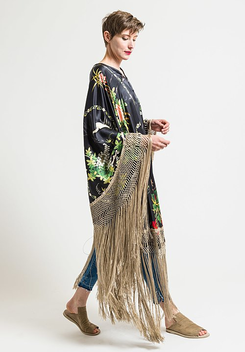By Walid Conchita Poncho in Cream Fringe