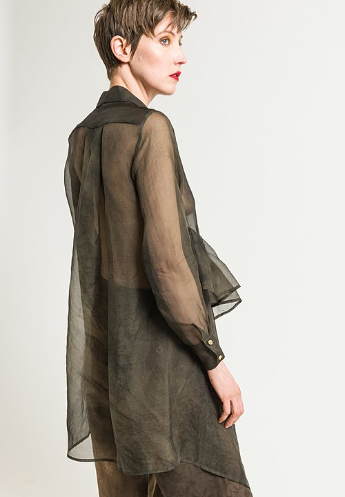 Uma Wang Sheer Tille Shirt in Dark Grey