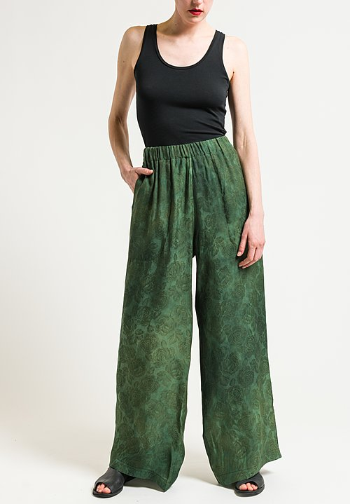 Uma Wang Stupore Paisley Pants in Green