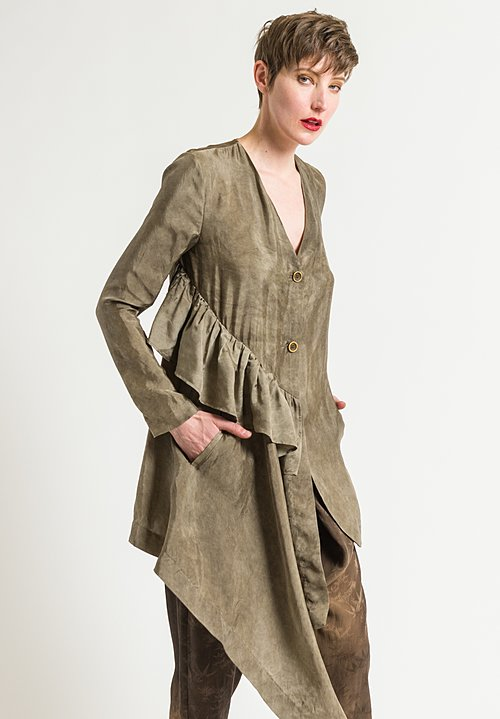Uma Wang Moulay Kolena Shirt Jacket in Brown Grey