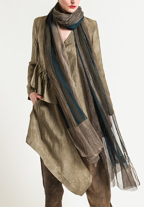 Uma Wang Emisfero Scarf in Brown/Blue