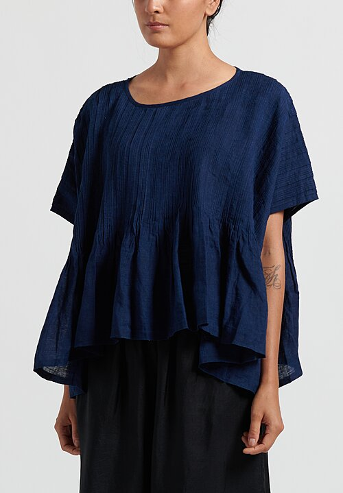 Maison de Soil Random Pleats Top in Dark Indigo