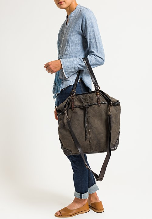 Campomaggi Studded Shopping Bag in Stained Grey